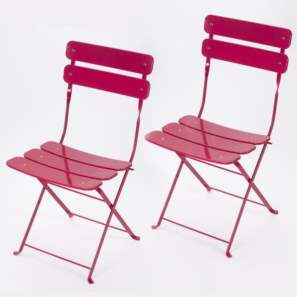 Lot de 2 chaises pliantes ext rieur en m tal rose hesp ride rose achat ve - Lot de chaises pliantes ...