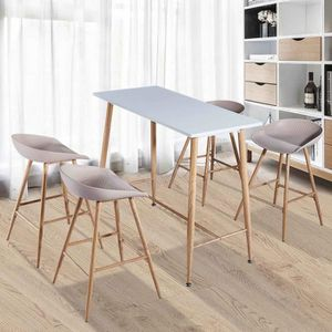 TABLE À MANGER COMPLÈTE Table haute avec 4 chaises blanches