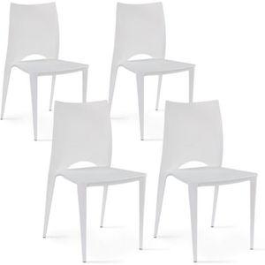 FAUTEUIL JARDIN  Chaises de jardin en plastique Blanc Lot de 4