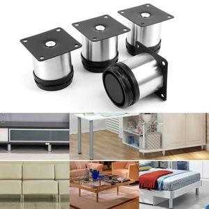 PIED DE MEUBLE 4x Pied de meuble réglable acier inoxydable rond d