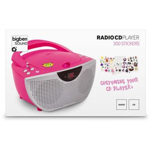 RADIO CD CASSETTE LECTEUR RADIO CD PORTABLE ROSE +300 STICKERS