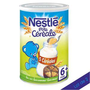CÉRÉALES BÉBÉ [LOT DE 2] NESTLÉ P'tite Céréale 5 Céréales - 400