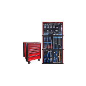DESSERTE CHANTIER Servante d'atelier BUMPER rouge + 161 outils plate