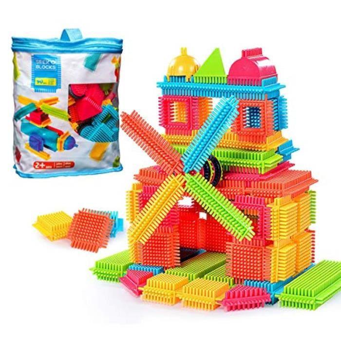 Jeu D'Assemblage B4D64 créativité construction jouets dextérité fine motricité, gros poils forme 3d blocs de construction tuiles con