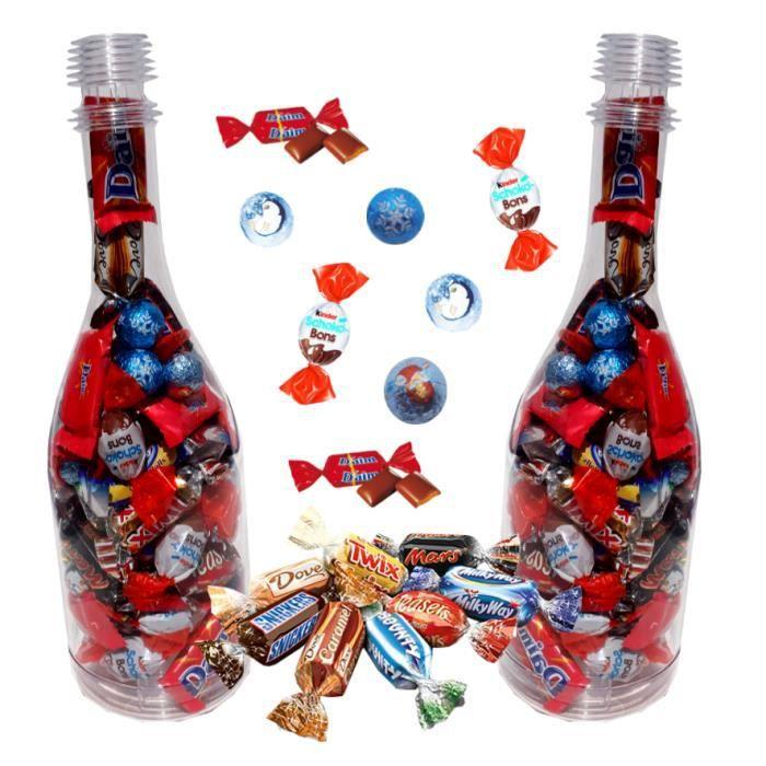 2 Choco' bouteilles de Noël garnies de 50 chocolats kinder Schokobons, Daim, biscuits Lu, Celebrations - IDEE CADEAU NOEL