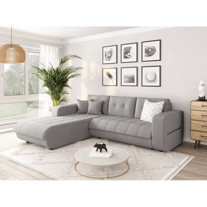 Canapé d'Angle SUZIE Convertible en Tissu Gris - Angle Gauche