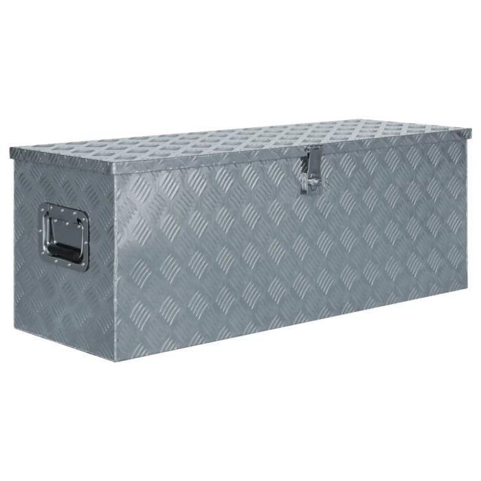 Boîte en aluminium - Chariot à Outils Caisse à Outils Atelier - 110,5 x 38,5 x 40 cm Argenté