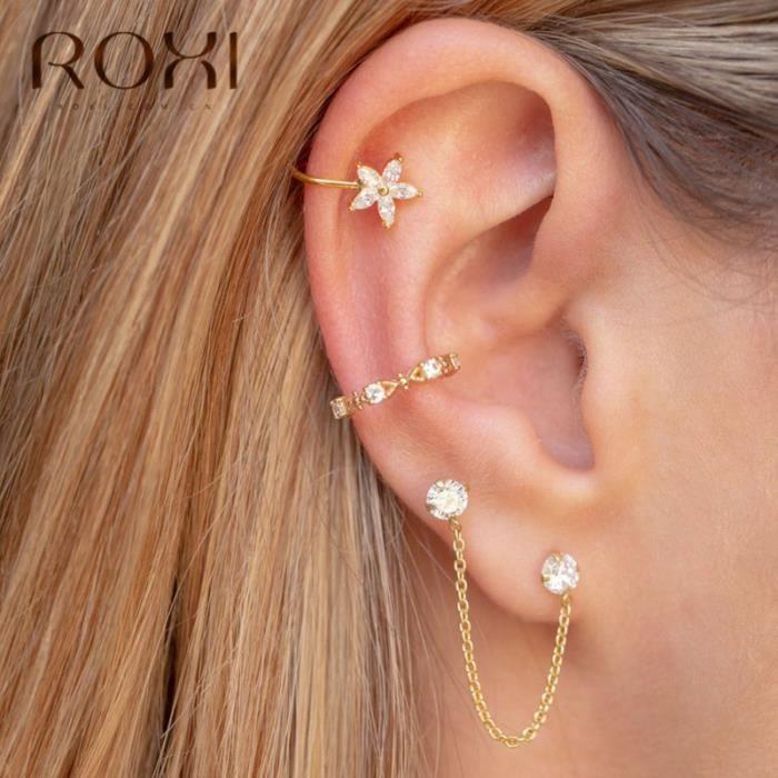 ROXI 925 en argent Sterling flocon de neige pince boucles d'oreilles sans Piercing cristal Earcuff mode b - Modèle: Or  - TEEHB02458