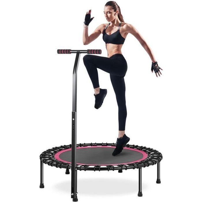 Trampoline Fitness intérieur ø100cm avec Poignée en Forme T Réglable en Hauteur pour Enfants et Adultes Charge Maximale 200kg