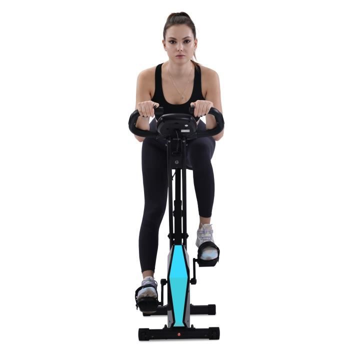 Merax Vélo d'Appartement Pliable, 8 Niveaux de Résistance, Écran LCD pour Fitnesse et Cardio, Bleu