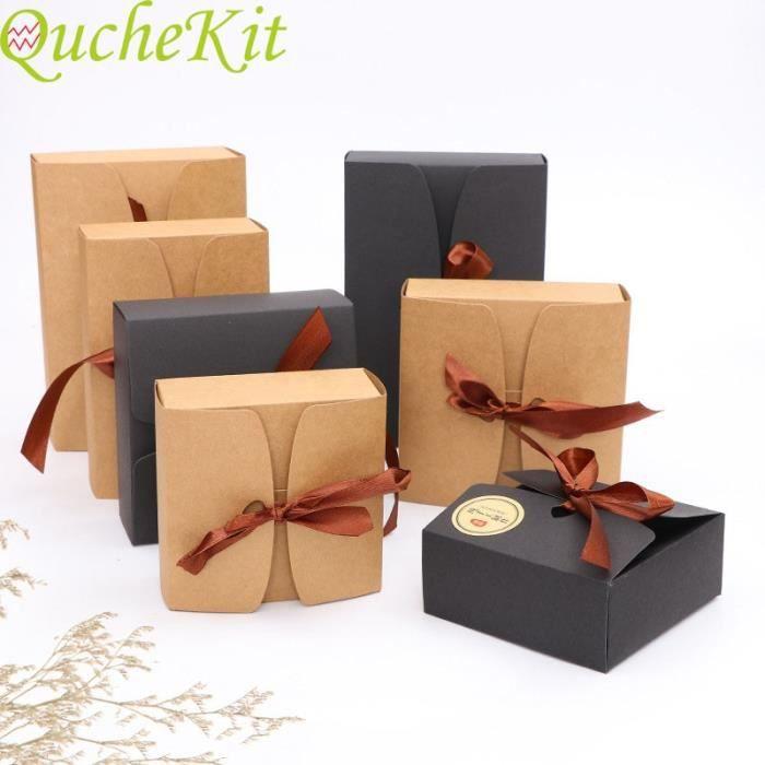 Black 12x12x5cm -Boîtes Kraft Vintage avec ruban, 20 pièces, boîtes d'emballage pour gâteaux au chocolat, biscuits, fête prénatal