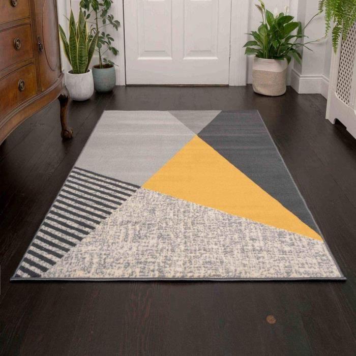 The Rug House Milan Tapis Moderne et Riche au Design Abstrait Ocre Jaune Moutarde Dor&eacute Graphite Gris Ocre179