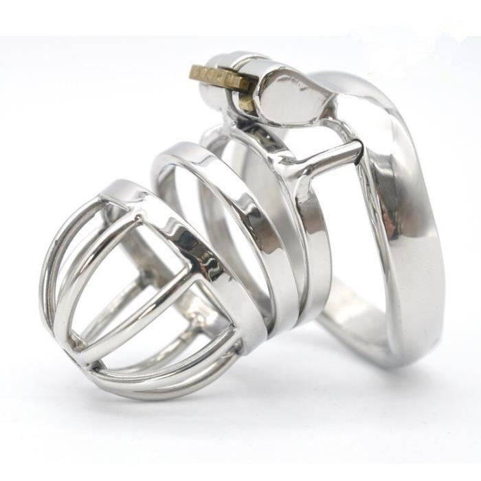 ANNEAU - COCKRING,Dispositif masculin de chasteté d'anneau de pénis de Cage de coq d'acier inoxydable avec le nouveau - Type S-45mm