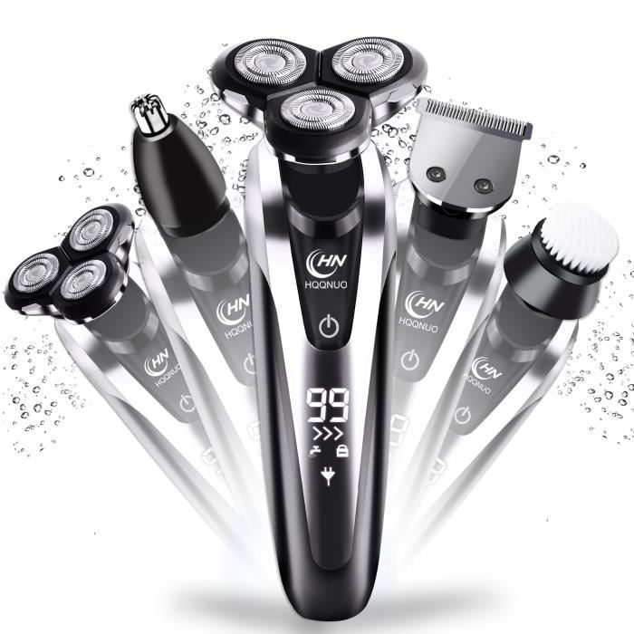 HQQNUO Rasoir Electrique, 5 En 1 Wet & Dry Rasoir Electrique Homme, Ecran LCD avec Moustache Nez Tondeuse Brosse Visage de nettoyage