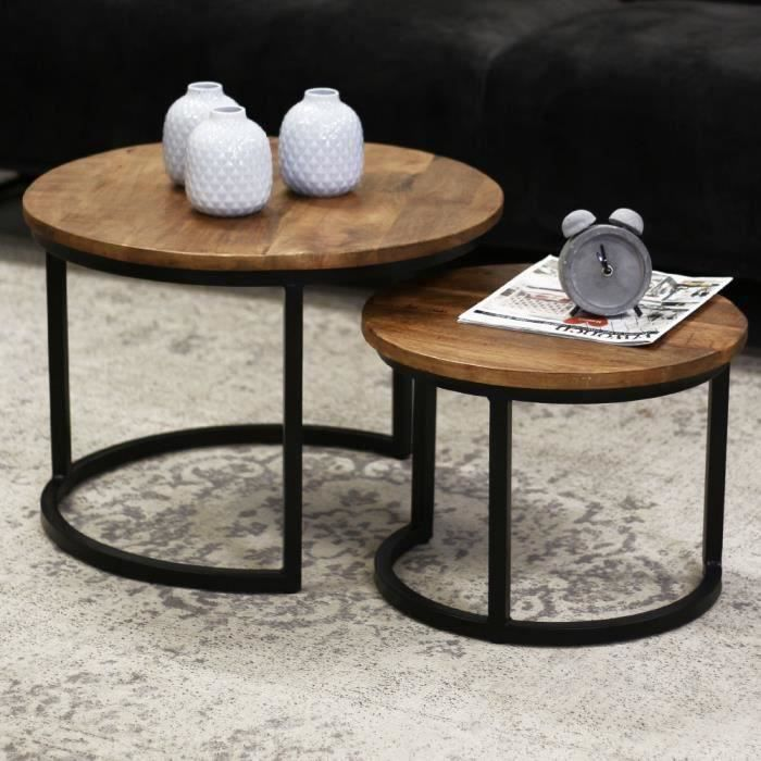Table Basse Ronde Double Plateaux Calla