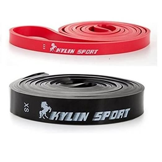 KYLIN SPORT Bande Elastique de Résistance Bande Latex de Yoga pour Musculation Etirement (Rouge+Noir)