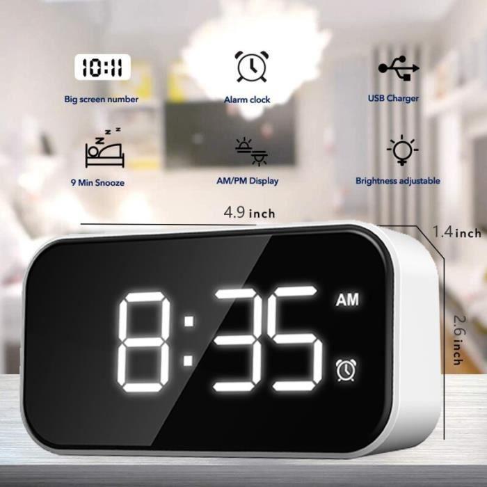 Horloge,Miroir multifonction réveil Radio LED lecteur de musique horloge de Table alimenté horloges décor de Table - Type 1 white
