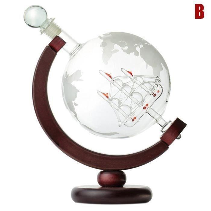 Carafe gravée Globe Design Carafe à vin de whisky 850 ml avec cadre en bois pour Home Bar LIA18996