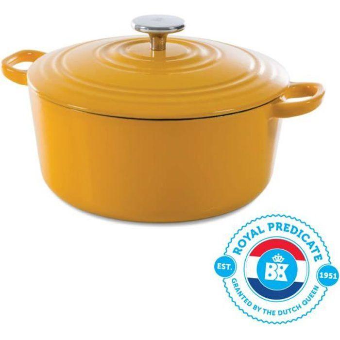 BK Cookware H6075.528 Nature BK Bourgogne Cocotte en Fonte - Ronde - 28 cm - 6.7L - Revêtement émaillé - Couvercle avec Anneaux