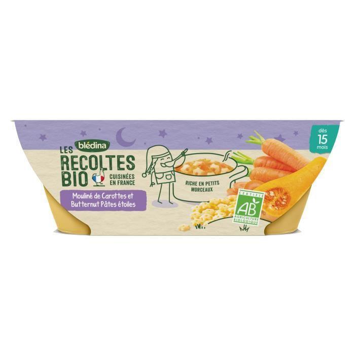 BLEDINA Les récoltes bio Mouliné de carottes et butternut pâtes étoiles