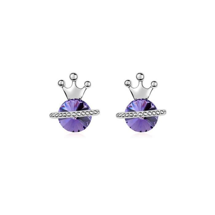 Boucles d'Oreilles Princesse en Cristal de Swarovski Element Violet et Plaqué Or Blanc