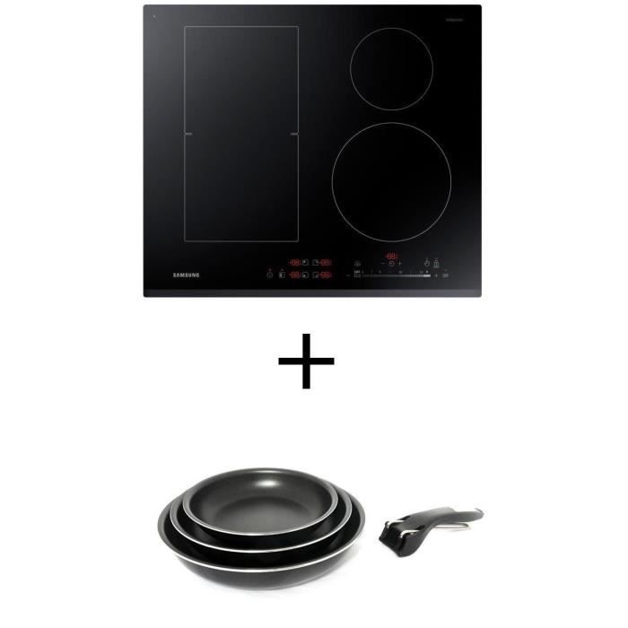 Pack cuisson SAMSUNG NZ64K5747BK - Table de cuisson à induction - 4 zones - 7200W - L60 x P52cm + Set 3 poêles 20/24/28