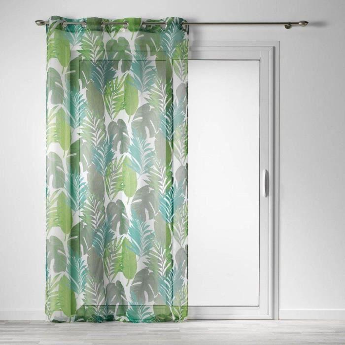 Rideau de fenêtre sur rainures VIANE, 140 x 240 cm, motif feuille de palmier