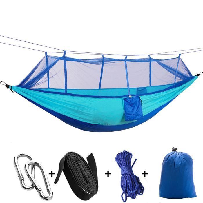 2PCS Hamac extérieur en toile de parachute avec moustiquaire, tente de camping, portable ultra-léger