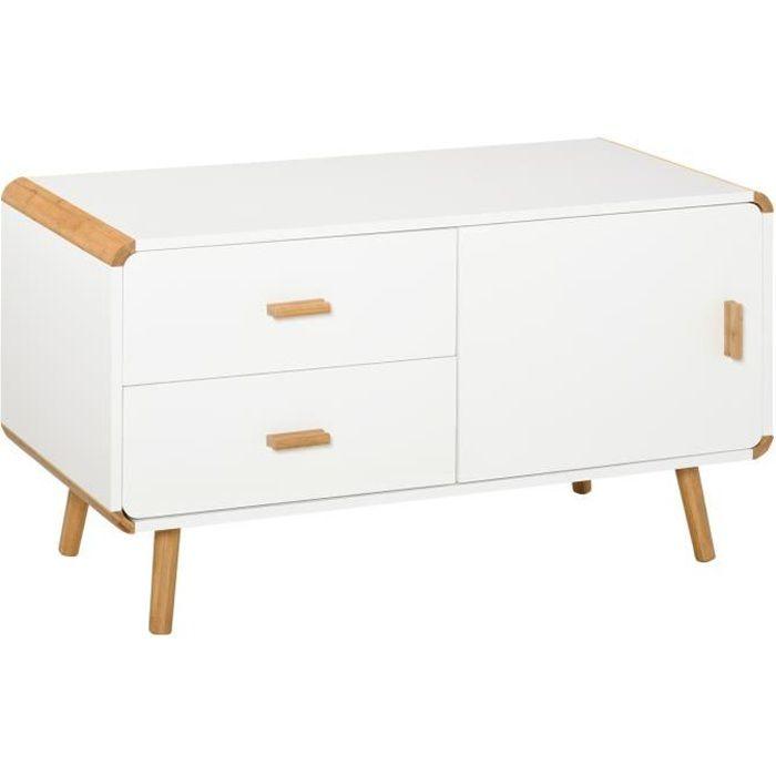 Meuble TV bas sur pieds style scandinave 2 tiroirs et placard MDF blanc bois massif bambou 100x47x55cm Blanc