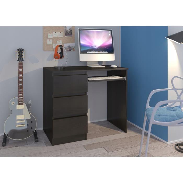 YORK L- Bureau moderne informatique d'ordinateur 96x50x76 - Chambre Ado-Enfant - Support clavier - Wengé