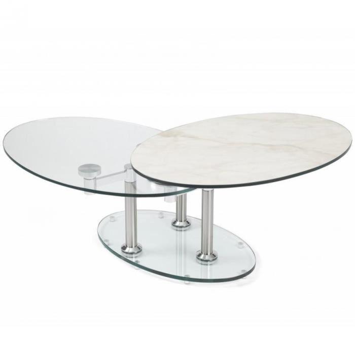 Table basse DOUBLE CÉRAMIQUE MARBLE blanc à plateaux pivotants en verre blanc céramique Inside75