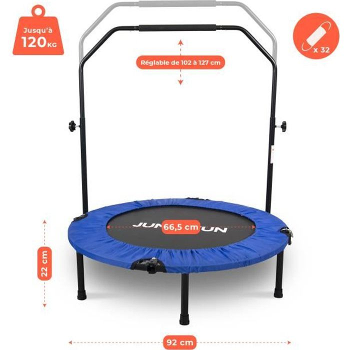 Mini Trampoline Fitness Jump4fun Pliable Double-Bar - Ø92cm, Bleu