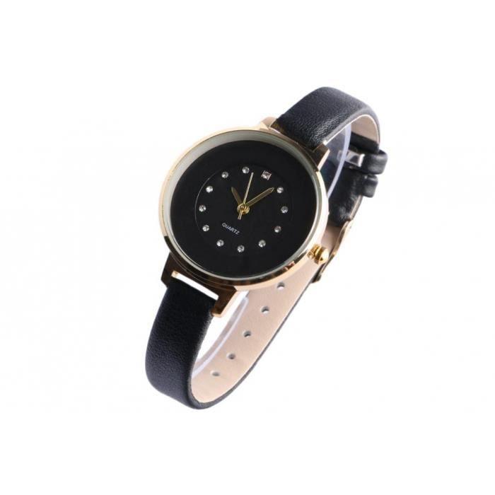 Fin bracelet montre femme noir dore strass classe Prestya - Noir - Taille unique