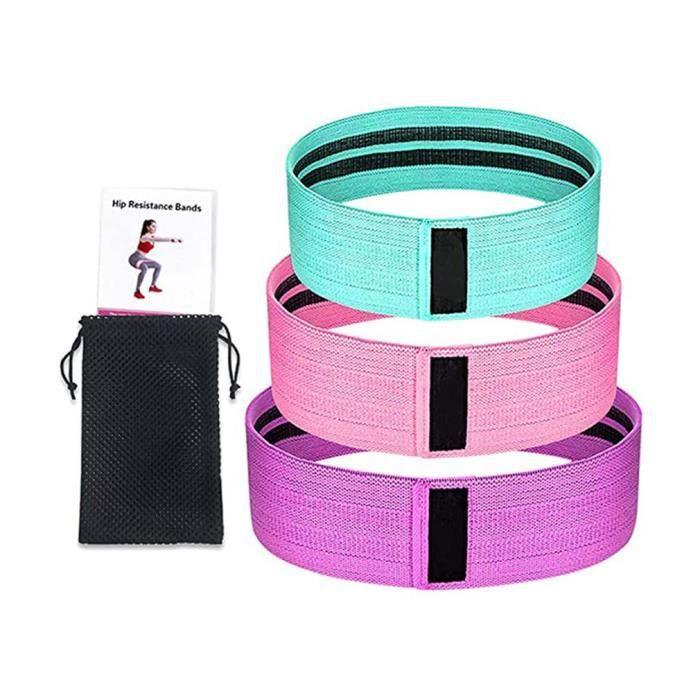 Bande Elastique Fitness – Bande de Resistance Set (3) - Équipement d'Exercices pour Musculation Pilates Squat Sport
