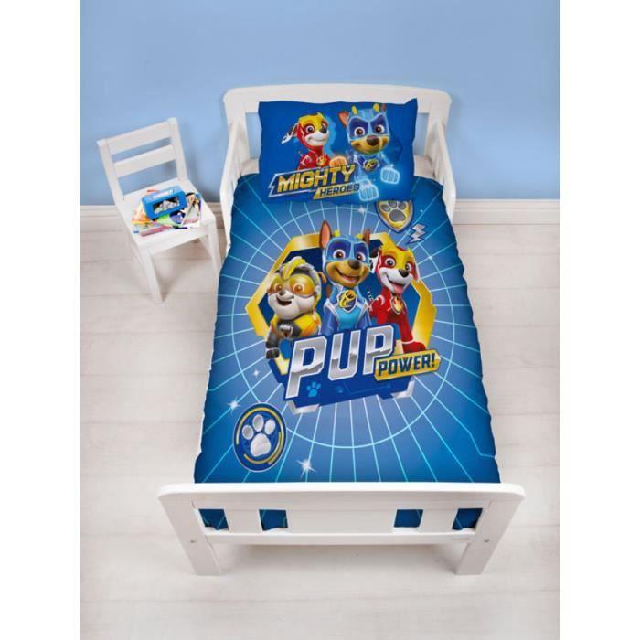 Paw Patrol Parure de lit pour Enfant avec Housse de Couette Motif Super Chiots Bleu