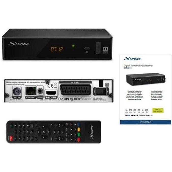 STRONG SRT 8211 Décodeur TNT Full HD -DVB-T2 - Compatible HEVC265 - Récepteur/Tuner TV avec fonction enregistreur (HDMI, Péritel,