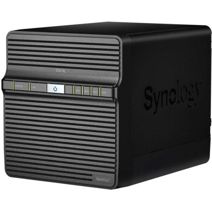 SYNOLOGY - Serveur de Stockage (NAS) - DS418j - 4 Baies - Processeur double cœur 1,4 GHz - 1 Go de RAM - Boitier nu