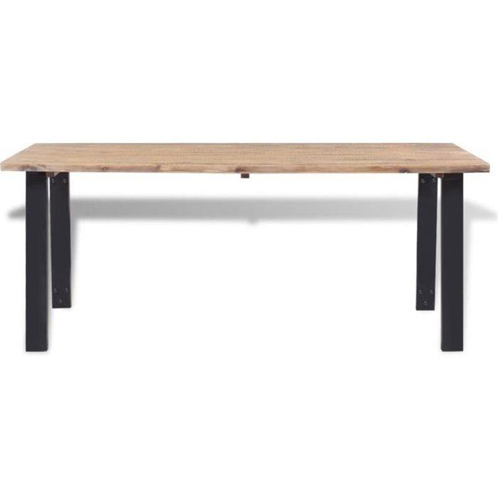 FOR Table salle à manger marron et noir Dessus table en bois d'acacia massif brossé+pieds en métal laqué 170x90x75cm 9375297837747