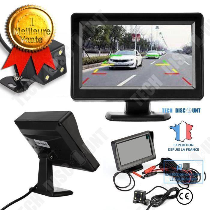 TD® Caméra de recul 4.3 TFT LCD voiture rétroviseur moniteur + vision nocturne de sauvegarde caméra de recul