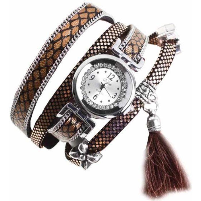 Montre bracelet Bijou femme Cuir retourné Coton Femme Doré 2 rangs Rond chiffres arabes Fermoir fantaisie wz-M0031