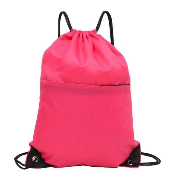 1pc Drawstring Backpack Sac à bandoulière en nylon imperméable pour le sport Yoga Voyage Randonnée (Rose)