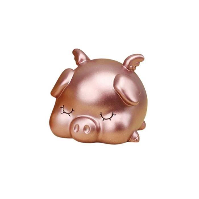 Tirelire cochon rose en vinyle créatif ornements d'animaux de dessin animé anti-chute pour enfants, S