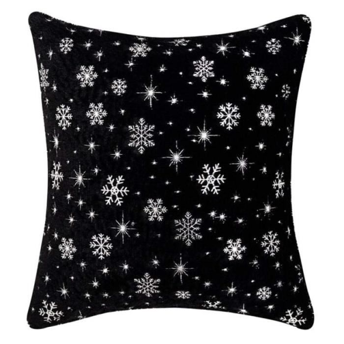 AD22156-Housse de coussin en fausse fourrure. 43x43cm. décoration de noël. flocons de neige. rouge. noir. blanc. bleu. gris. rose.