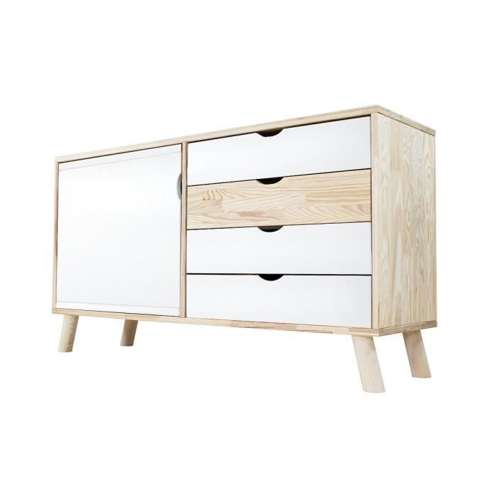 buffet scandinave viking en bois naturel et blanc blanc achat vente buffet bahut buffet. Black Bedroom Furniture Sets. Home Design Ideas