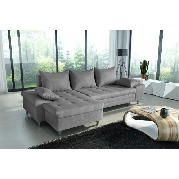 canap bacau angle gauche gris achat vente canap sofa divan cdiscount. Black Bedroom Furniture Sets. Home Design Ideas