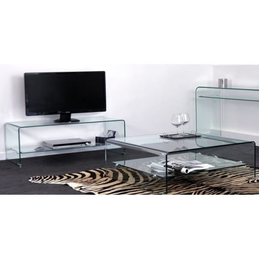 meuble tv et table basse carr e glass achat vente salon complet verre cdiscount. Black Bedroom Furniture Sets. Home Design Ideas