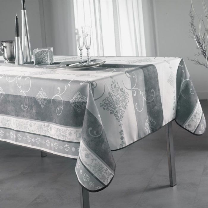 nappe anti tache rectangle 150x240 cm festive noel gris. Black Bedroom Furniture Sets. Home Design Ideas