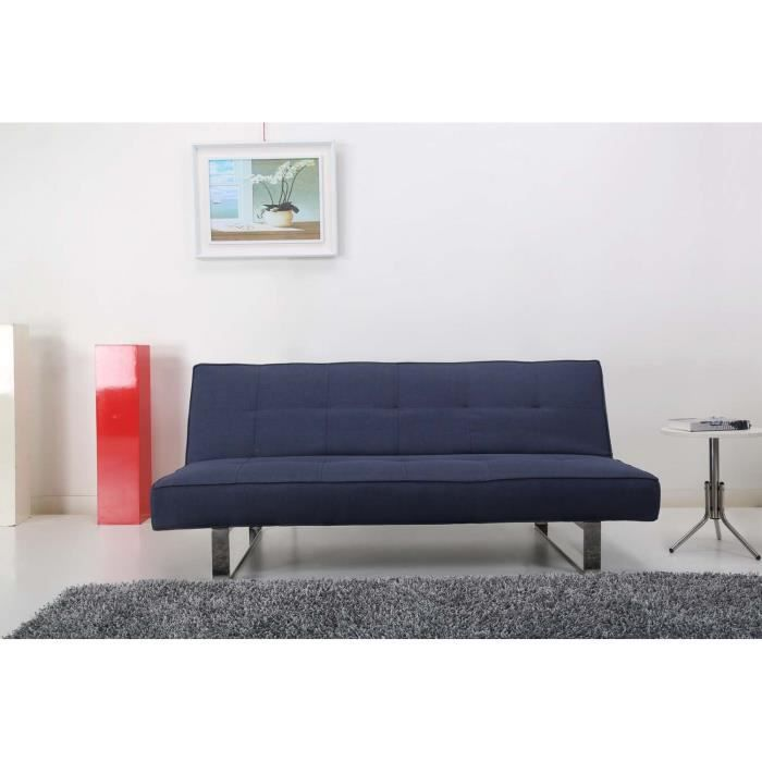 Canapé convertible BLEU- 3 places - couchage 1 personne - système clic-clac  - ANTIBES 176b5bff9f22