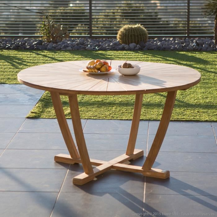 Table De Jardin Ronde En Teck Brut 140cm Sanillo Achat Vente Table De Jardin Table De