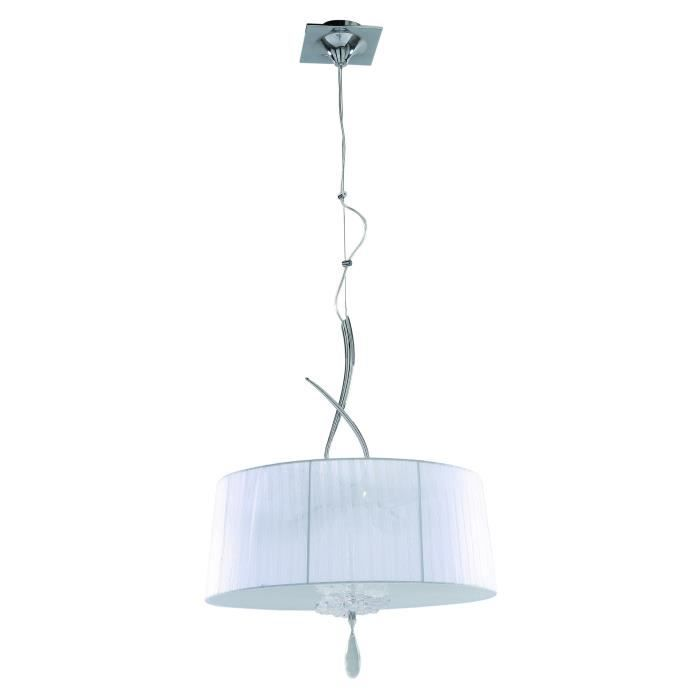 Suspension baroque grand abat jour louise blanc 50 cm for Suspension baroque